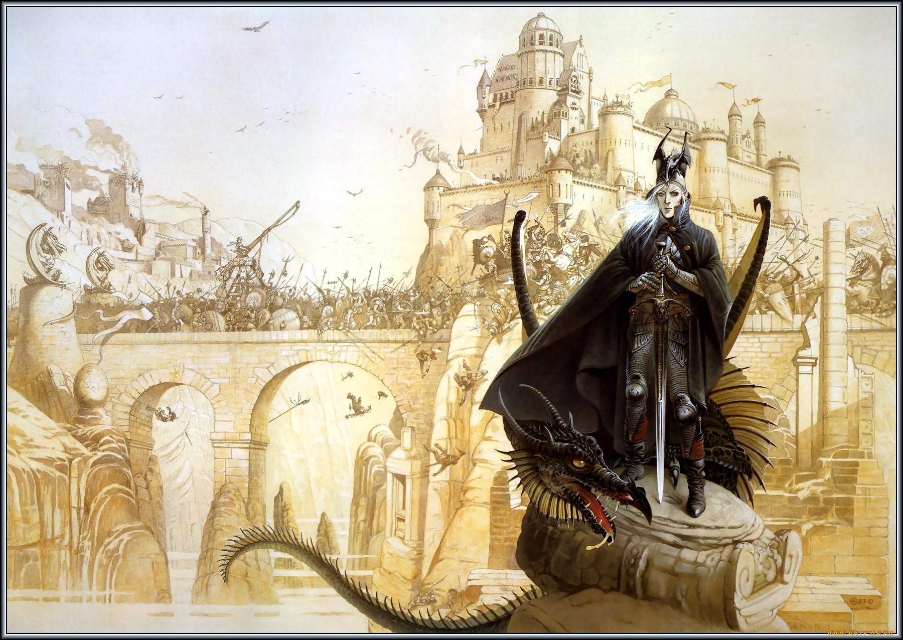 Chris achilleos elric фэнтези драконы обои для